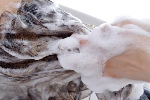 人物 女性 日本人 若い 若者  20代 お客 モデル カットモデル 美容室  美容院 ヘアーサロン  仕事 職業 美容師  屋内 お店 店内 ヘアカット ヘアセット セミロング  美容 ビューティー おしゃれ オシャレ ケープ  シャンプー台 洗髪 洗う 髪の毛 シャンプー アップ 泡