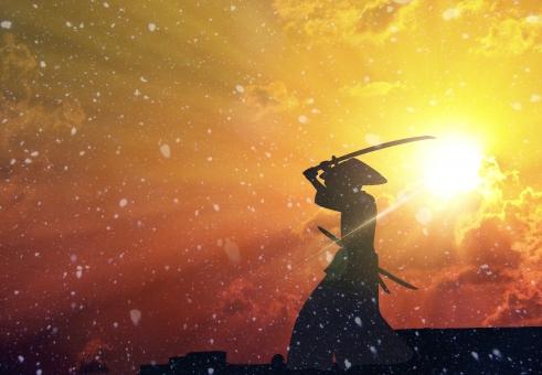 夕日の侍の写真