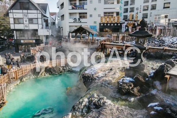 群馬県・草津温泉・湯畑の写真
