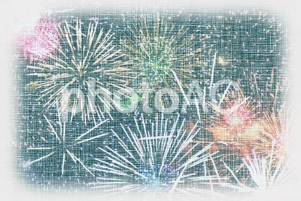 花火柄の生地のテクスチャ1の写真