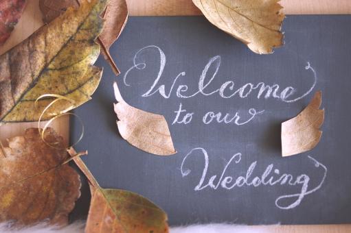 ウェディング ウェルカムボード 秋 オータム ブライダル 季節 イベント 結婚式 挙式 披露宴 会場 結婚 シーズン 落ち葉 リーフ