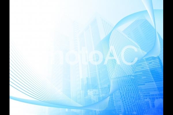 ビジネス街と流れる抽象的ウェーブの青い背景の写真