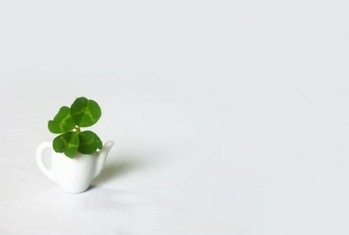 四つ葉 四ツ葉 クローバー 癒し くつろぎ four leaf leaved clover tea pot message fortune time happy lucky 幸運 birthday ラッキー リラクゼーション リラックス くつろぎ メッセージカード 誕生日 blank space text 文字 スペース バースデーカード