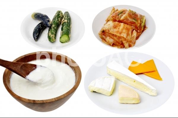 生きた乳酸菌が入った食べ物 ヨーグルト ナチュラルチーズ キムチ ぬか漬けの写真