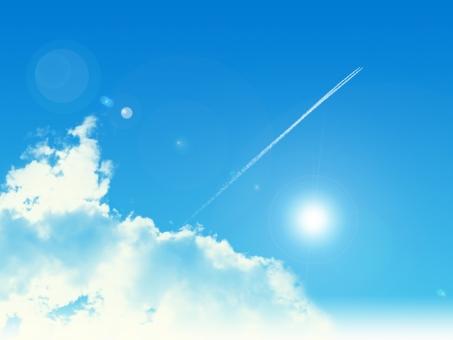 青空015-飛行機雲の写真