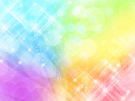 虹色ハートのキラキラ背景の写真