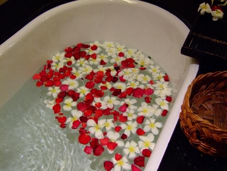入浴 お風呂 バスタイム 南国 リゾート 花 シャワー リラックス アロマ 花びら 気持ちいい イメージ のんびり 赤い花 白い花 水 水面 お湯 バスタブ 女性