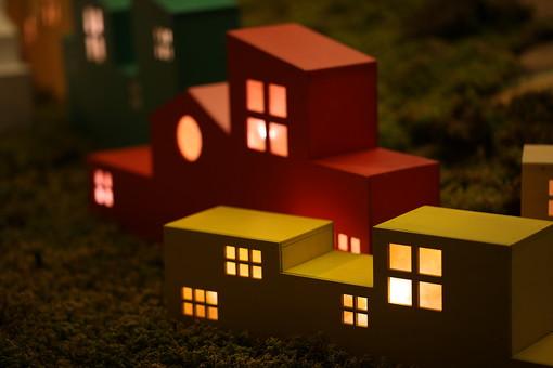 家の形のイルミネーションの写真