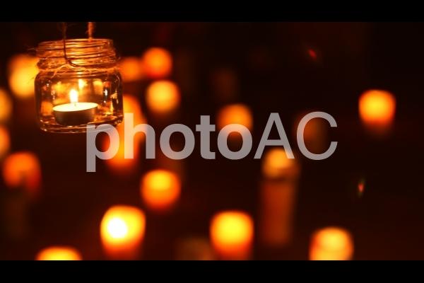 安城七夕祭り夜のライトアップイベント ランタンとロウソクの写真