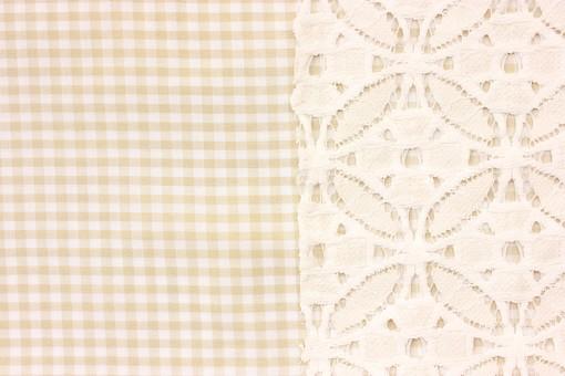 布 織物 チェック 格子 生地 綿 木綿 背景 背景素材 バック パターン バックグラウンド テーブルクロス 柄 模様 テクスチャ テクスチャー 素材 壁紙 テキスタイル 布地 チェック柄 ギンガムチェック カジュアル ナチュラル レース 白色 肌色 ベージュ 黄色