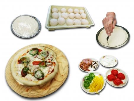 手作り ハンドメイド ホームメイド ピザ イタリアン もちもち 具だくさん 生地 発酵 成形 1次発酵 チーズ トマト パプリカ ソーセージ ウインナ たまねぎ ピーマン ベンチタイム パンピザ 白背景 素材 食べ物