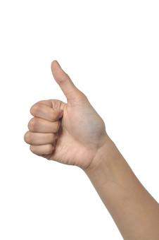 人物 背景 白 白背景 白バック 切り抜き パーツ ボディパーツ 腕 数字 片手 ポイント 指 手首 ジェスチャー 身ぶり 指示 カウント 番号 肌 余白  シンプル ハンドパーツ 右手 親指 ゴー オーケー OK グッド good 人の手