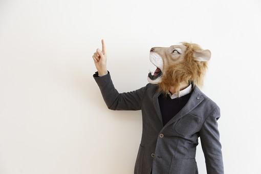 動物 動物マスク 人物 人間 ビジネス 会社 社員 会社員 社長 ビジネスマン 男性 1人 ライオン スーツ 指さす 指差し 上 向上 目指す 説明 ポイント アドバイス 注目 屋内 白バック 白背景 仕事 LionPresident