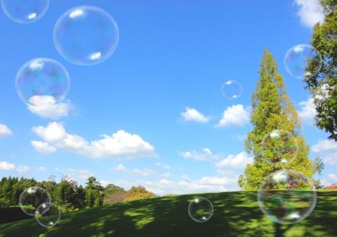 青空とシャボン玉 Blue Sky and Soap Babblesの写真