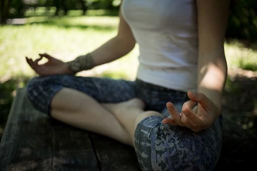 外国人 外人 女性 女 ヨガ ストレッチ エクササイズ フィットネス ストレッチ 健康 体操 温まる 痩せる 鍛える 精神 体 屋外 森 森林 木 樹木 植物 緑 集中 姿勢 ゆったり 座る
