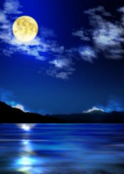 反射 光 月 雲 夜 背景 背景素材 バック バックグラウンド background moon night 山 風景 景色 満月 月光 月明かり
