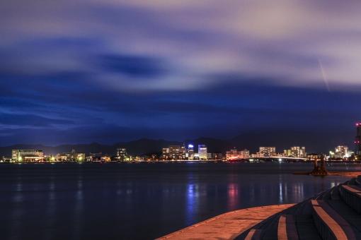 街並み 夜景 宍道湖 松江市 市街地 ライトアップ