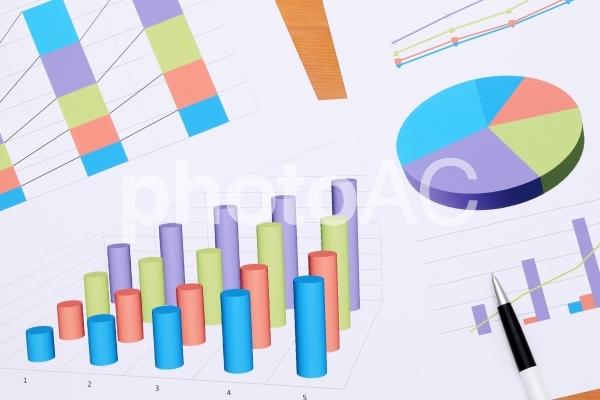 グラフ 円グラフ ビジネスイメージの写真