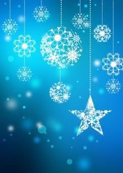 クリスマス_ブルー_縦背景の写真