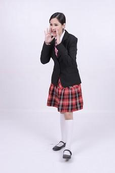 女性 外国人 モデル 美人 若い 制服 ブレザー スクール 学校 教育 面接 スーツ ビジネススーツ ネクタイ きっちり まとめ髪 上品 笑顔 ポーズ ハイソックス タータンチェック 赤いスカート スカート チェック柄 パンプス 白い靴下 声援 応援 mdff037
