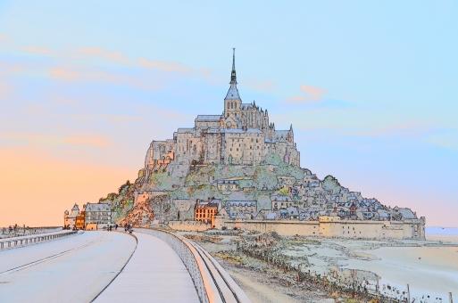 モンサンミッシェル フランス 絵 城 ヨーロッパ 外国 海外 絵画 背景