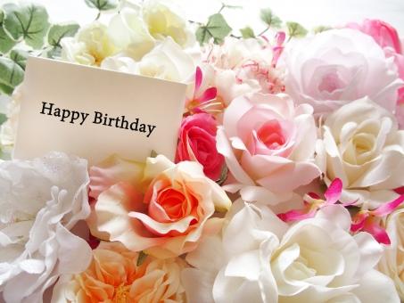 Happy Birthday 誕生日 おめでとう お祝い 花 プレゼント 背景 花束 カラフル バラ 行事 御祝い 祝福 エレガント 上品 女性的 華やか 鮮やか 明るい フラワー ボックスフラワー ギフト 贈り物 薔薇 ばら ピンク オレンジの花 メッセージカード
