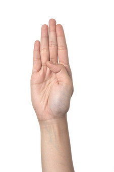 人物 背景 白 白背景 白バック 切り抜き パーツ ボディパーツ 腕 片手 ポイント 指 手首 ジェスチャー 身ぶり 肌 余白  シンプル ハンドパーツ 右手 手ぶり 人の手 手のひら ハーイ 手を挙げる 挙手 4 四つ 四番
