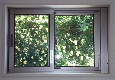サッシ 窓 ウインドウ インテリア 内装 住宅 住居 家 家屋 窓外の景色 風景 景色 緑 自然 窓枠 アルミサッシ ハウジング 草木 小窓 建物 建造物 建築 建築物