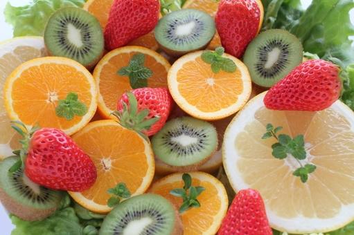 果物 デザート イチゴ オレンジ キウイフルーツ ミント くだもの フルーツ いちご 苺 グレープフルーツ