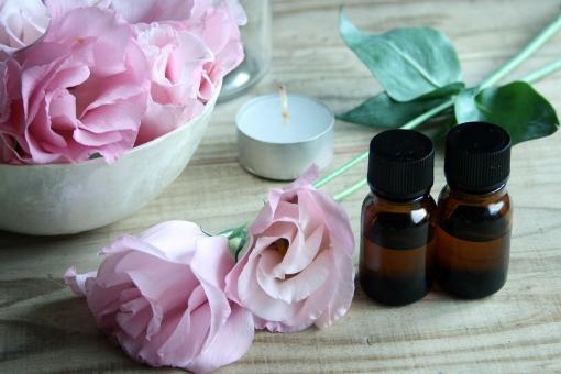 アロマセラピー アロマテラピー 瓶 ビン エッセンシャルオイル ピンク 花 トルコ桔梗 キャンドル ろうそく ローソク リラックス 癒し