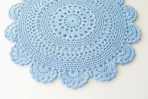 レース レース編み レース素材 素敵 かわいい ロマンティック ガーリー かぎ針編み クラシック ドイリー 青 ブルー 背景 背景素材 模様 素材 装飾 エレガント