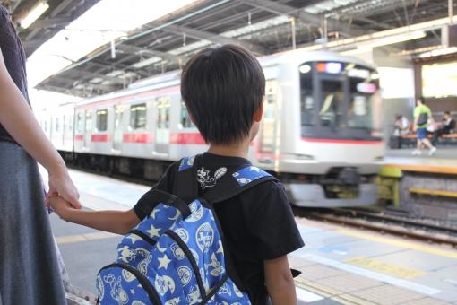 電車 通勤電車 東急線 東横線 駅 ホーム 子供 後ろ姿 親子