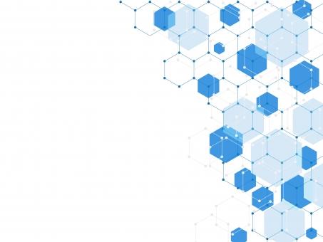 六角形の背景 青の写真