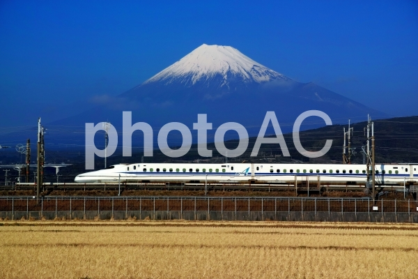 新幹線と富士山の写真