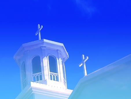 キリスト 空 チャペル 教会 結婚式 沖縄 クロス 十字架 キリスト教 祈り 祝い 願い ロマンチック ブライダル ミサ ベル 鐘 南国 リゾート 建物 花 花壇 ブーゲンビリア 白 幸せ ウェディング ウェディングベル カップル 合成 結婚 結婚素材 海外 欧米 青空 晴天