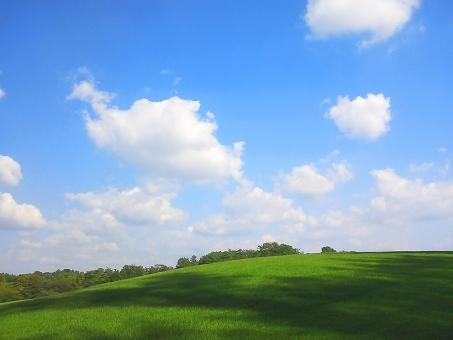 空 雲 芝生 青空 癒し リラクゼーション リラックス ヒーリング 穏やか くつろぎ 休息 気分転換 リフレッシュ ストレス解消 安らぎ 開放感 グリーン ブルー 優しい 美しい 空気 新鮮 自然 green grass blue sky relaxing background 背景