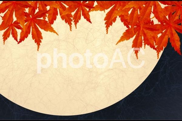 秋の紅葉と黒とクリーム色の和紙テクスチャ背景素材の写真