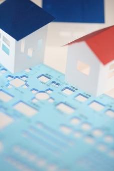 製図 定規 工具 事務用品 不動産 住宅 建物 設計 工務店 青 縦位置 余白 間取り プラン 青