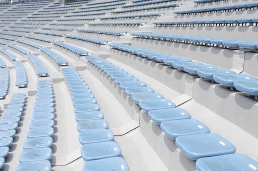 国立競技場 国立霞ヶ丘陸上競技場 観客席 スタンド 座席 シート 空席 斜面 階段 観戦 応援 スポーツ 運動 サッカー ワールドカップ ラグビー 陸上競技 コンサート スタジアム 競技場 会場 水色 並んだ 整列 デザイン 建物 建造物 建築物 施設 東京オリンピック オリンピック東京大会