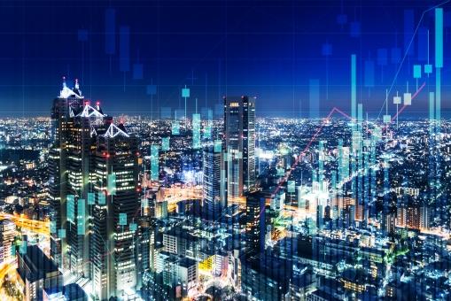 チャートと都市の夜景の写真