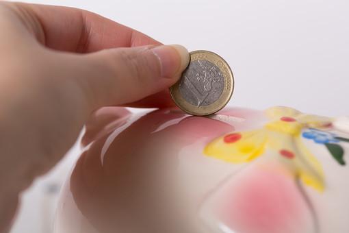 お金 コイン 硬貨 現金 通貨 貨幣 小銭  つり銭 マネー 外国 海外 外貨 貯金  貯蓄 金融 経済 ビジネス 価値 貯金箱 豚 ブタ ぶた 貯める 白バック 白背景 アップ 人物 手 1ユーロ ユーロコイン ユーロ
