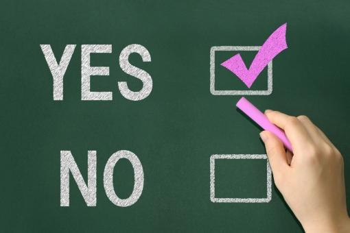 ビジネス 人物 仕事 英語 手 教育 勉強 学習 チェック 黒板 確認 会社 人 同意 文字 レ点 はい NO Yes イエス いいえ ノー 意思表示 決定