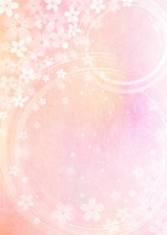 桜_ピンク_和紙_縦型の写真