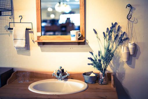 洗面台 シンク 鏡 ミラー 木枠 コップ グラス タオル リネン アイアン ハンガー フック ラベンダー ハーブ ドライフラワー 生け花 切り花 ナチュラル おしゃれ 洒落た インテリア 家具 雑貨 ディスプレイ トイフォト トイカメラ トイデジ