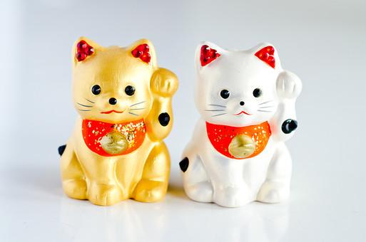 招き猫 ネコ 猫 置き物 置物 縁起物 雑貨 小物 インテリア 左手 手招き 商売繁盛 千客万来 幸福 幸運 招福 成功 達成 ラッキー めでたい 金色 ゴールド 銀色 シルバー 白背景 白バック スタジオ撮影 ラフ