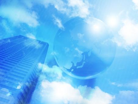 高層ビル ビル オフィス ビジネス 地球 空 環境 雲 展望 未来 仕事 背景 バック 世界 ワールド