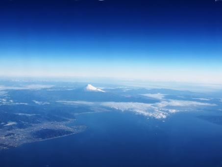青空 深青 富士山 駿河湾 空 航空 高所 宇宙 青 静岡 三保