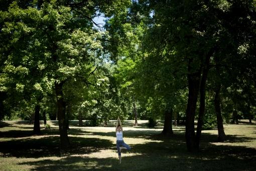 外国人 外人 女性 女 ヨガ ストレッチ エクササイズ フィットネス ストレッチ 健康 体操 温まる 痩せる 鍛える 精神 体 屋外 森 森林 木 樹木 草地 植物 緑 集中 姿勢 ゆったり 手を伸ばす 直立 遠く 遠方  mdff020