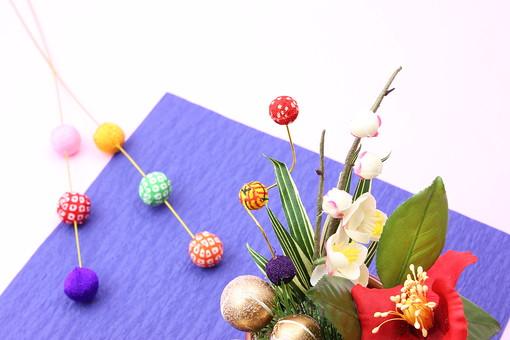 年賀 年賀状 正月 お正月 年賀素材 年賀状用素材 正月素材 和小物 和風 和 素材 伝統 飾り 正月飾り 新年 舞玉しだれ 青 梅 梅の花