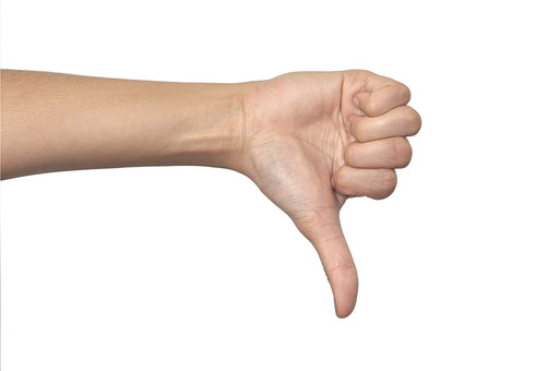 人物 背景 白 白背景 白バック 切り抜き パーツ ボディパーツ 腕 数字 片手 ポイント 指 手首 ジェスチャー 身ぶり 指示 カウント 番号 肌 余白  シンプル ハンドパーツ 右手 親指 下向き BAD 人の手